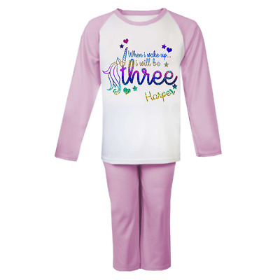 Personalised When I Wake Unicorn Birthday Pjs Kids Pyjamas ANY NAME AND AGE