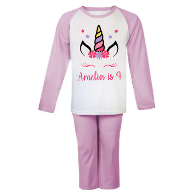 Personalised Unicorn Birthday Pjs Kids Pyjamas ANY NAME AND AGE Birthday Girl