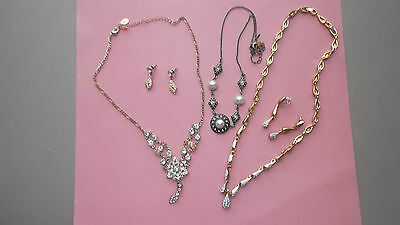 Lot Of 3 Necklaces-2 With Matching Earrings Vintage Look See Pics For Details