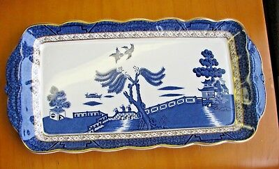 "Booths Real Old Willow - 13"" x 7"" Sandwich Bread Tray England Blue Doulton MINT"