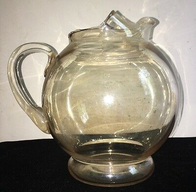 Vintage Clear Glass Round Ball Pitcher w/ Applied Handle