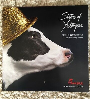2018 Chick Fil A Cow Calendar WITH CARD for 12 free food items Valued $60 NEW