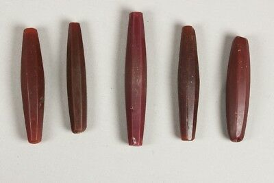 5 antique mock carnelian faceted glass trade beads