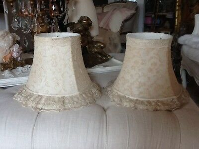 Vtg Net Lace Lamp Shades Pair tambour lace ruffles victorian style