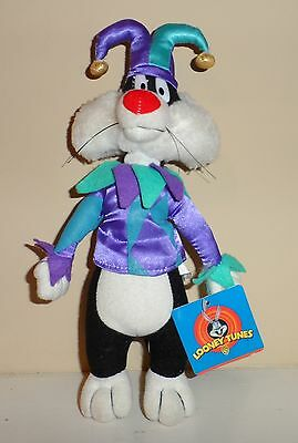 """1997 Play-By-Play Looney Toons Sylvester The Cat 11"""" Plush Dressed As A Jester"""