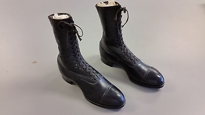 Pair of Womens Antique Victorian, Edwardian, 20s Leather Walking Boots