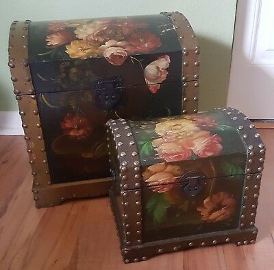 Vintage Set 2 Chests, Nesting & Hand Painted Floral Wood Tole Toleware European!