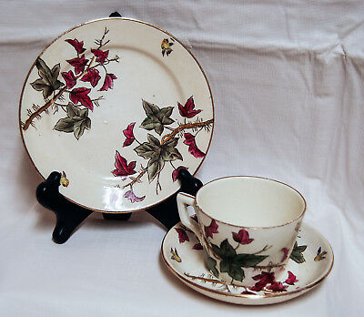 Antique 19th Century 3 Piece Cup and Saucer Set English Staffordshire Birds