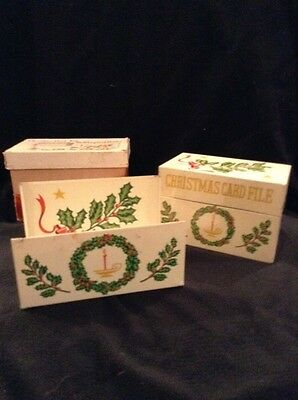 Vintage Metal Recipe Box, Christmas Card File, Holly, Japan