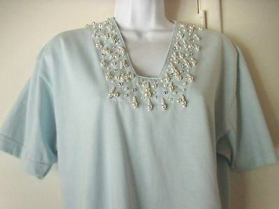 Crystal Kobe Embellished Beaded Blue Knit Tee Shirt Top Size Medium