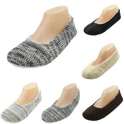Womens Cable Knit Plush Slippers House Shoes Fuzzy Soft Warm Indoor Slides