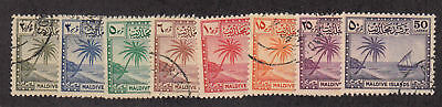 Maldive Islands - 1950 - SC 20-27 - Used/LH - Short set - No 28 - 24 LH