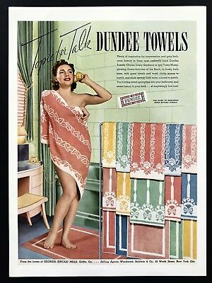1940 Vintage Print Ad 40's DUNDEE TOWELS Woman On Phone In Bathtub Image