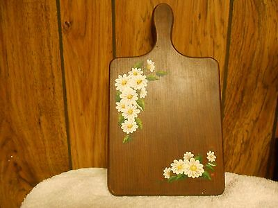 Decorative cutting board/daisies & strawberries hand painted and stained.USA