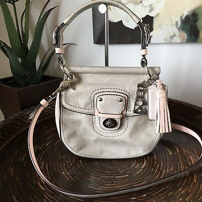 Coach Gray/Light Pink Leather Colorblock Small New Willis Crossbody Bag 19036