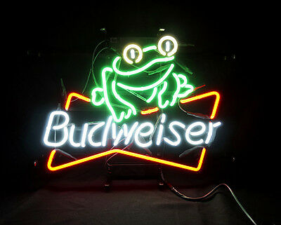Frog Beer Bar Bistro Pub Neon Sign Light Bud Artwork Poster Bistro Man Cave