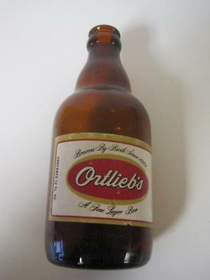 Super Rare Original Ortlieb's Fine Lager Beer Bottle Glass 1960S Paper Label