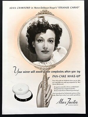 1940 Vintage Ad 40's MAX FACTOR Hollywood Joan Crawford Mirror Image