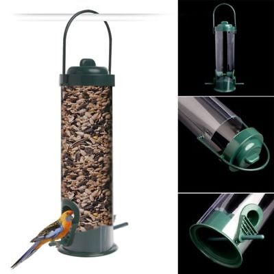 Green Hanging Wild Bird Feeder Seed Container Hanger Garden Feeding New Clever