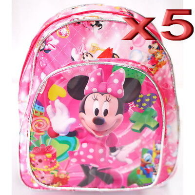 5pc Wholesale Bulk Lots Kids Children Girls Minnie Mouse Small Backpack Bags