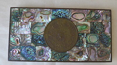 Vintage Taxco Mexico Mark Box Inlaid Abalone w/Themed Aztec Calendar Wood Lined