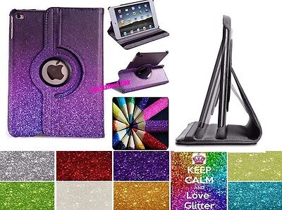 Leather 360 Degree Rotating Smart Stand Glitter Case Cover For APPLE iPad Models