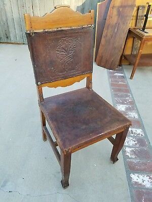 Vintage Leather Spanish Revival Embossed Chair with decorative nails