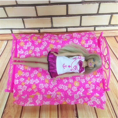 Cute Pink Barbie Doll House Furniture Decor Single Bed With Bed Sheet Pillow