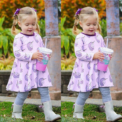 AU Stock Girls Kids Children Unicorn Long Sleeve Princess Dress Cotton Clothes