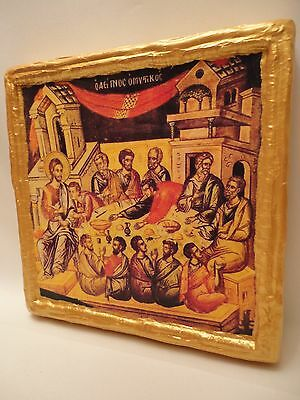 Jesus Christ  The Last Supper Rare Greek Orthodox Icon Art One of A Kind