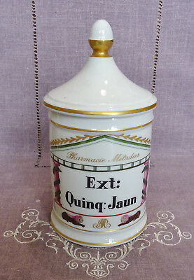Ancien  Pot A Pharmacie Metadier En Porcelaine De France - Ext : Quinq : Jaun