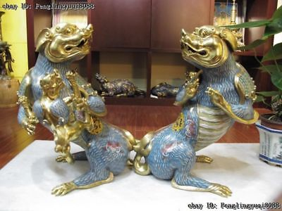 Chinese 100% Bronze 24K Gold Cloisonne Foo Dog Guardian lion Monsters Beast Pair