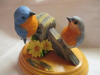 "Eastern Bluebird Figurines Pair Mounted on Oval Wood Base - 5"" Tall x 6"" Base"