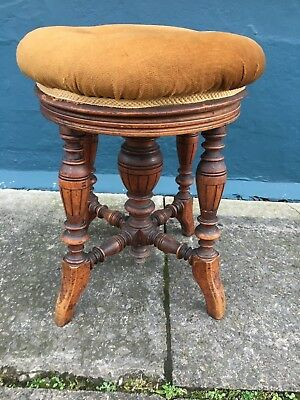 Victorian rise and fall turned piano - dressing stool *J.Fitter Birmingham #1619