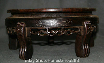30CM Antique Chinese Wood Hand Carving Furniture Circular Five leg Small Table
