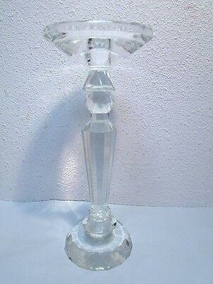 "Crystal Candle Holder Pillar / Candlestick 9 1/4"" Cristal Prism light refraction"