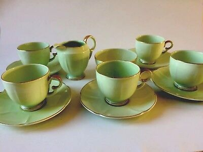 Stunning Crown Devon Fieldings Art Deco Green / Gold  3182 Coffee Set C1930 Vgc