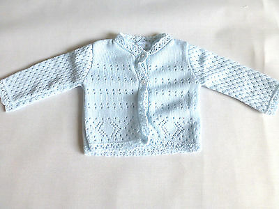 KNITTED BABY CARDIGANS BLUE Pemature Premie 3-5lbs to 6-9 months