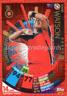 Topps Ipl Cricket Attax 2017 Shane Watson Limited Edition Indian Premier League