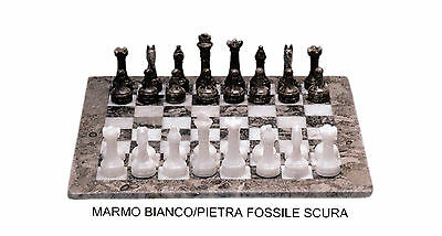 Chessboard Chess white Marble and fossil Marble Chessboard Chess Set 30x30cm
