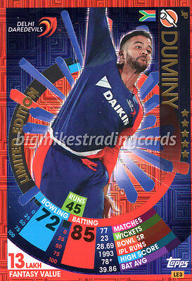 Topps Ipl Cricket Attax 2017 Jp Duminy Limited Edition Indian Premier League