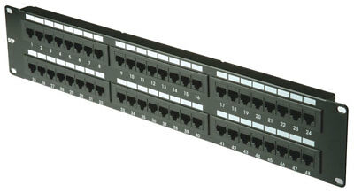Machpower Patch Panel 48 Porte Rj45 Utp Cat.5E Rack 19 Nero
