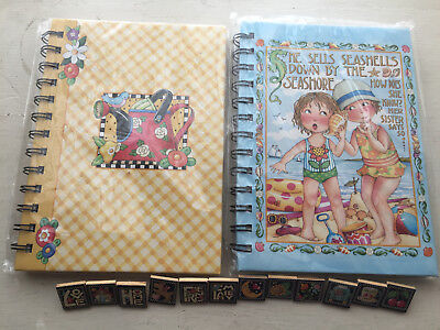 Mary Engelbreit Lot Hardcover Journals Tablets Notepads 12 Wooden Pushpins Tiles