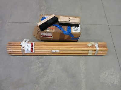 """26 Fpi Floor Scrub Deck Cleaning Brushes Brush With Poles 10"""" New"""