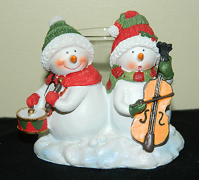 Yankee Candle Merry Bright Snowmen Votive Holder Resin Holiday Music Instruments