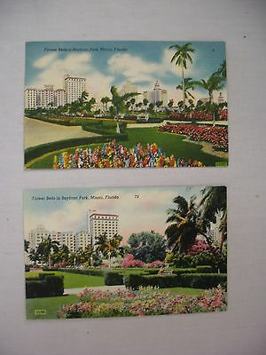 Group Of 2 Vintage Linen Postcards Flower Beds In Bayfront Park Miami Florida
