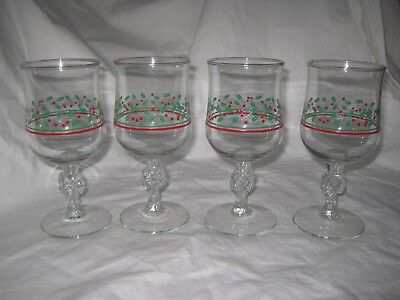 Retro 80's Arby's Holiday Christmas Holly Berry & Bow Stem Drink Glasses Goblets