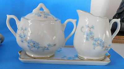 Vintage Napco C- 5418 China Demi Creamer Sugar Bowl & Underplate Forget Me Not