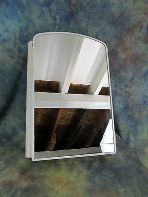 Antique White Metal Art Deco Medicine Wall Cabinet w/ Mirror, 3 Shelves