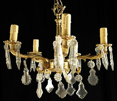 Antique French Louis XV Solid bronze and glass chandelier (1127)